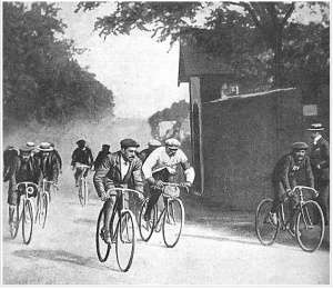 "Cyclists in the first Tour de France in 1903. Men of dubious moral character, all. Especially that guy in the white jersey. He's Maurice Garin, aka ""The Little Chimney Sweep"" and had the dubious distinction of winning the race. (Image: AP Photo/Conservatoire du Patrimoine Sportif)"
