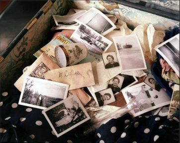 Margaret Dunleavy's trunk included photos, postcards, letters, tourist brochures, and maps from her many travels before her admission to Willard. (Photo: Lisa Rinzler)