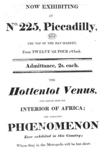 Poster advertising the Hottentot Venus. (Image via Wikipedia Commons)