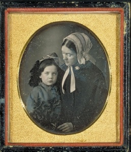 Daguerreotype of Lidian (real name: Lydia) Jackson Emerson, wife of Ralph Waldo Emerson, and their son Edward Waldo Emerson (1844-1930). Image courtesy of Harvard University Library. (Via Wikipedia)