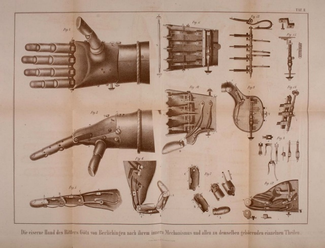 A 19th century engraving showing the inner workings of Ber's iron hand. (Image via Wikipedia)