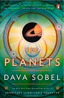 Book cover for the planets has a green background with a symbolic depiction of the solar system -- or more specifically the orbits of the planets within it and a sneak peek at a planet with rings, presumably Saturn in the middle.