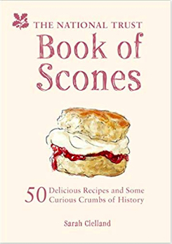 book cover for book of scones features a yummy scone filled with clotted cream and raspberry jam on a pale pink background. OMG I'm hungry. Is it tea time yet?