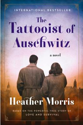 book cover for Tattooist of Auschwitz shows Lale and Gita from the back staring at the Auschwitz skyline.