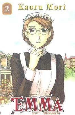 Book cover for the second volume of Kaoru Mori's Emma shows the same oddly elegant maid standing in front of another palatial house. This house is set on park-like grounds, and not in the city.