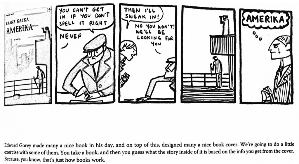 """In this black and white comic, a man sails to America, but is denied entry because he can't spell """"America"""" right. He misspells it """"A-M-E-R-I-K-A"""". The final block shows him with a tear in his eye as he is forced to sail home."""