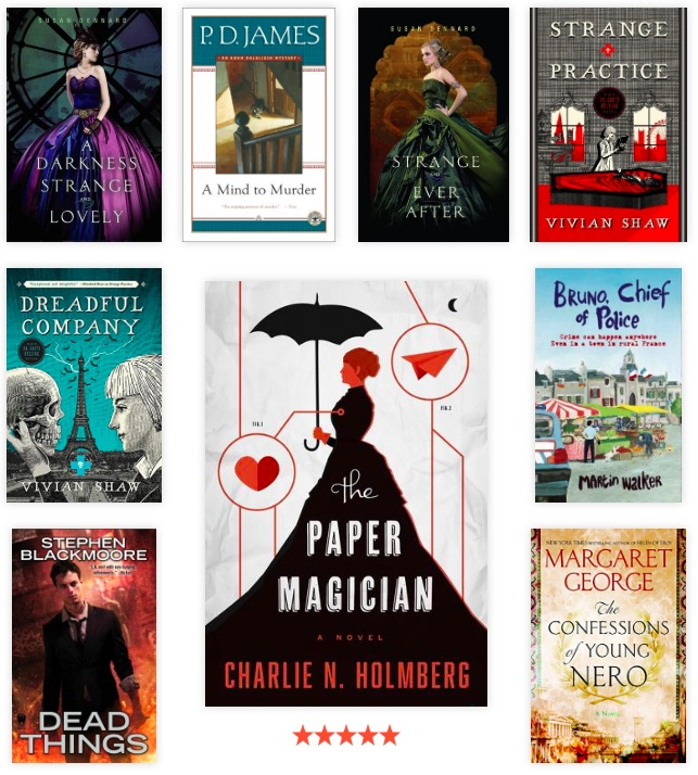 Book covers from January 2019. Susan Dennard, P.D. James, Vivian Shaw, Stephen Blackmoore, Martin Walker, Margaret George, and Charlie Holmberg helped me kick off 2019.